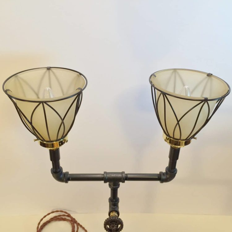 Black iron lamp top
