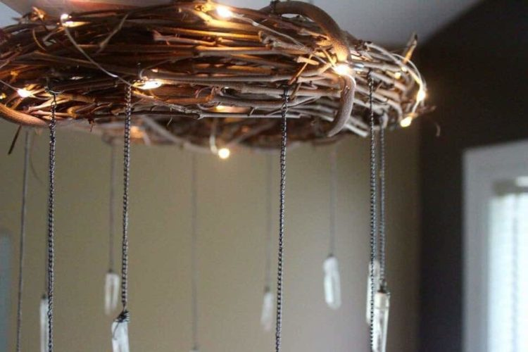 Bohemian Wood Amp Crystal Chandelier Id Lights