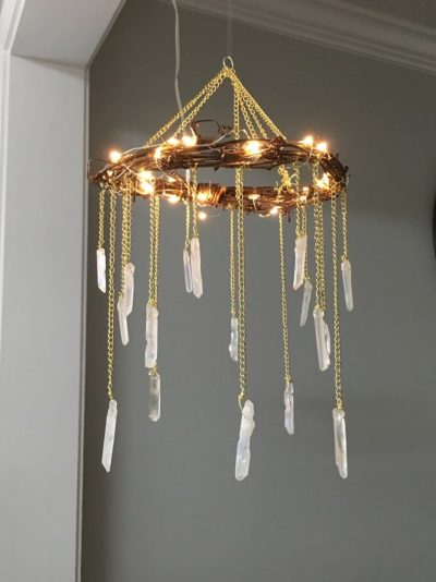 Bohemian Wood & Crystal Chandelier