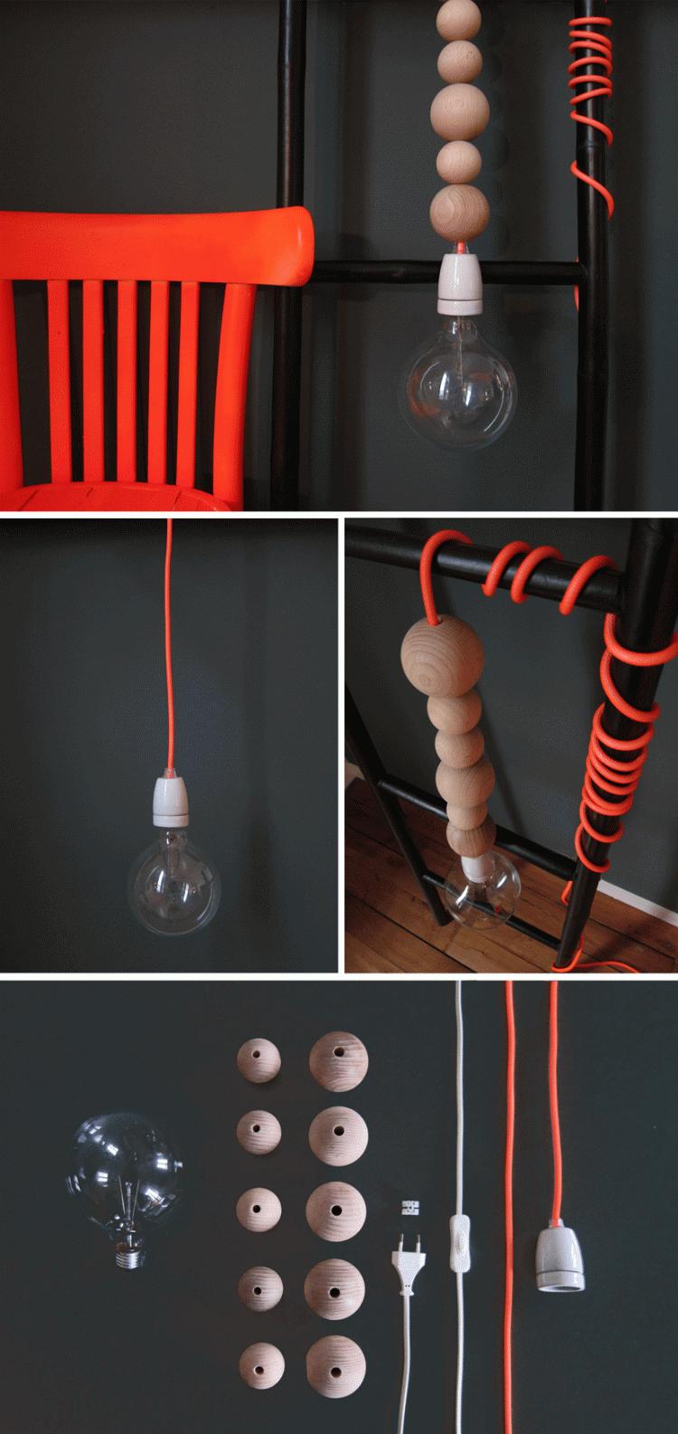 DIY Scandinavian Wooden Beads Pendant Lighting