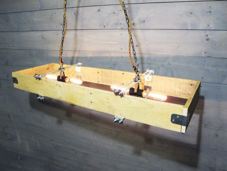 Rectangular Wood Chandelier Made from Recycled Pallet Chandeliers Wood Lamps