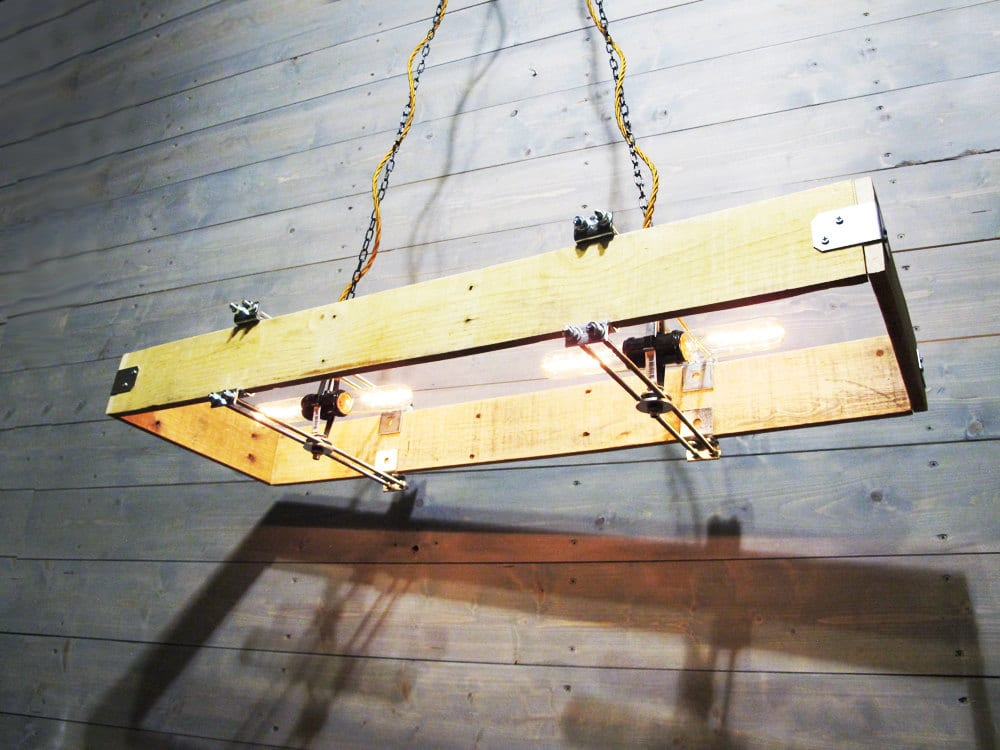 Rectangular Wood Chandelier Made from Recycled Pallet