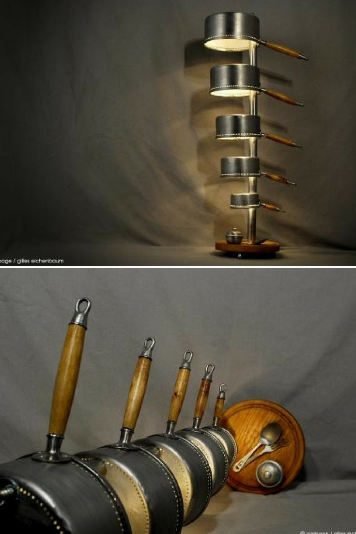 64080d9b920 Amazing kitchen floor lamp made with recycled sauce pans and accessories  (prototype) by French