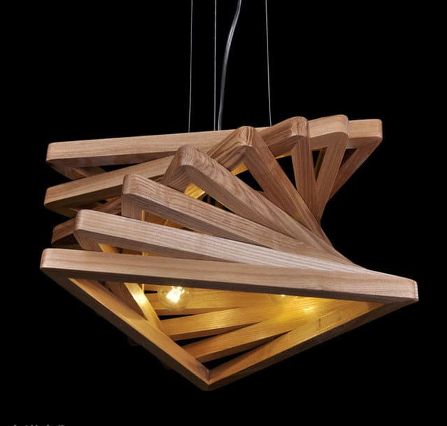 Triangle Tunnel Solid Wood Chandelier - wood-lamps, pendant-lighting