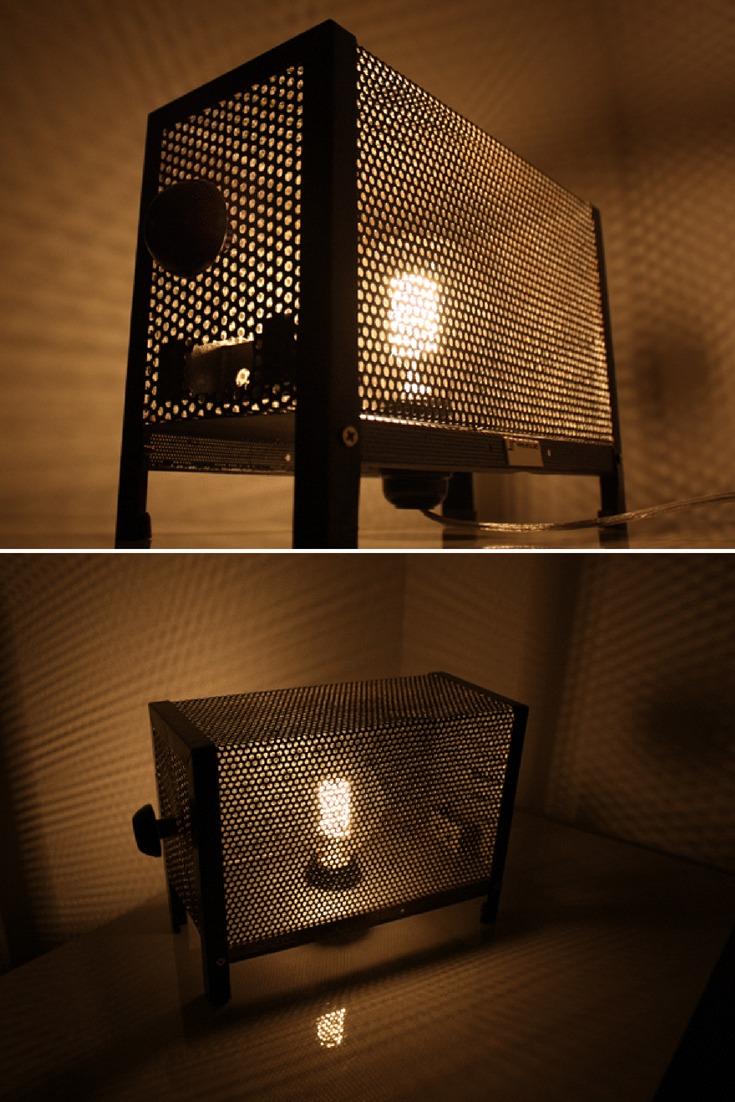 Vintage metal grid Edisontable lamp \