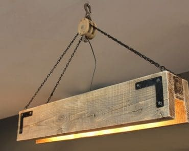 Wood Beam & Pulley Chandelier