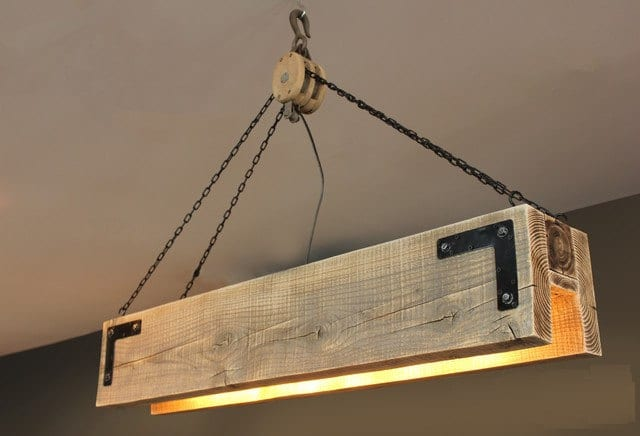 Wood Beam Amp Pulley Chandelier Id Lights