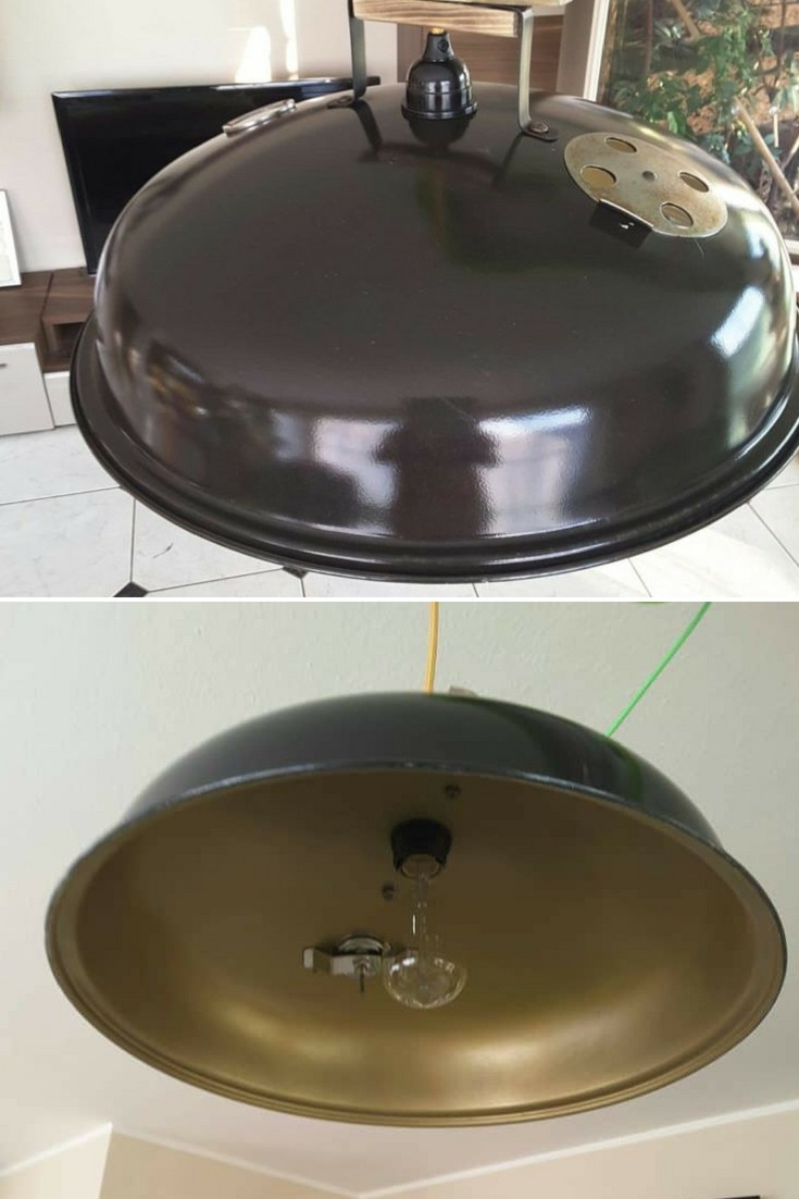 Pendant lamp made with a recycled barbecue cover, Weber or similar. No tutorial this time, only a few photos for inspiration... #diylighting #hugelighting #lamp #lighting #lightingdesign #metallic #pendantlamp #recycle #tutorial