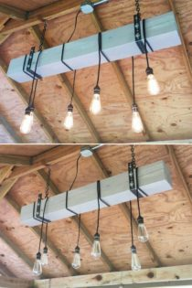 Gray Blue Natural Wood Beam Chandelier Id Lights