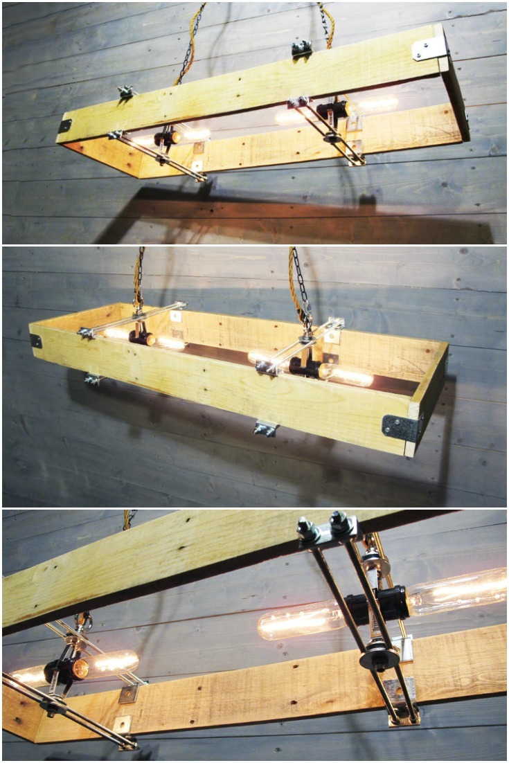 Rectangular Wood Chandelier Made from Recycled Pallet - wood-lamps, chandeliers