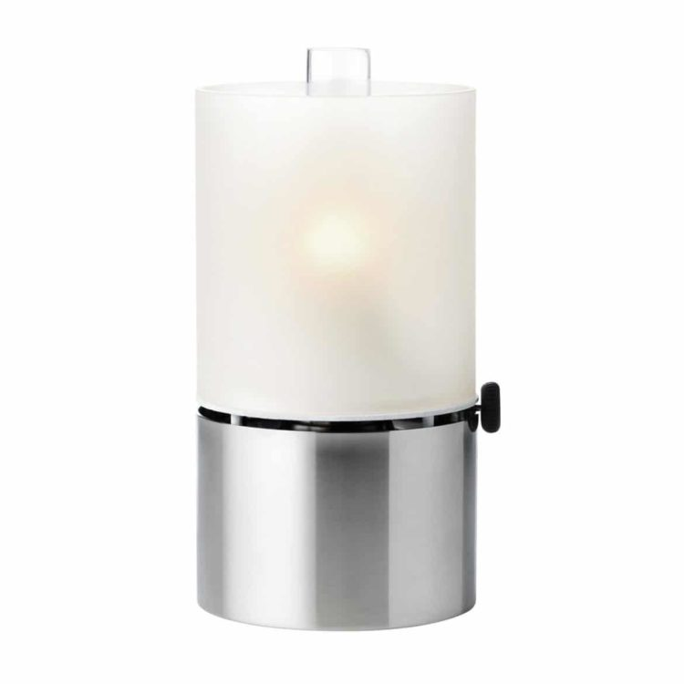 Stelton Design Oil Lamp with Satin Glass Shade - table-lamps