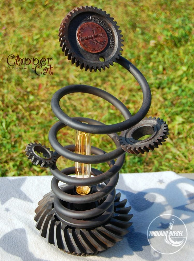 Tornado Spring and Gears Table Lamp - table-lamps