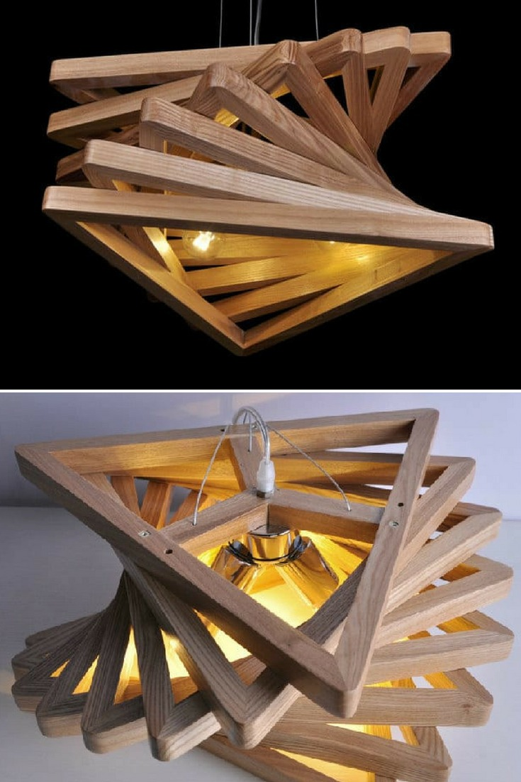 Cute wooden triangle shaped chandelier, perfect above a dining table. #chandelier #handmadelighting #lamp #lampshade #lightbulb #lighting #lightingdesign #modernlighting #tablelamp #woodlamp #woodworking