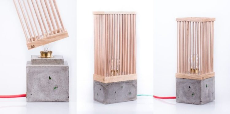 Wood and Concrete Table Lamp
