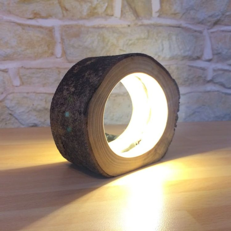 hollow log bedside lamp tablelamps