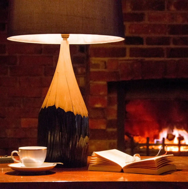 Naturally Aged Hornbeam Pencil Table Lamp - table-lamps