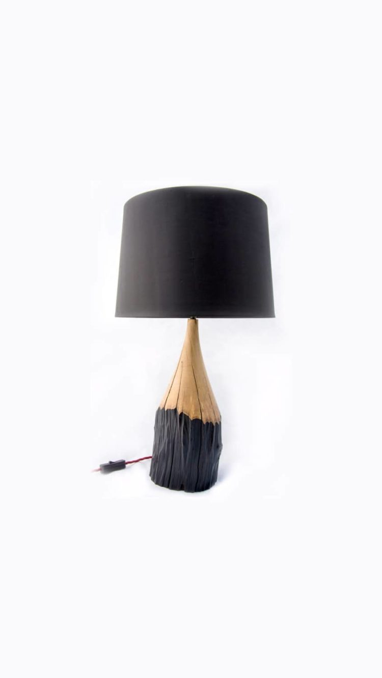 Naturally Aged Hornbeam Pencil Table Lamp Table Lamps