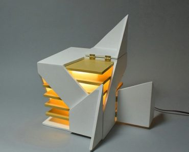 Folding Design Table Lamp by Michael Jantzen