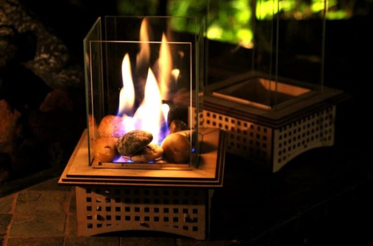 Mini Outdoor Fireplace Kits Tabletop Glass - table-lamps