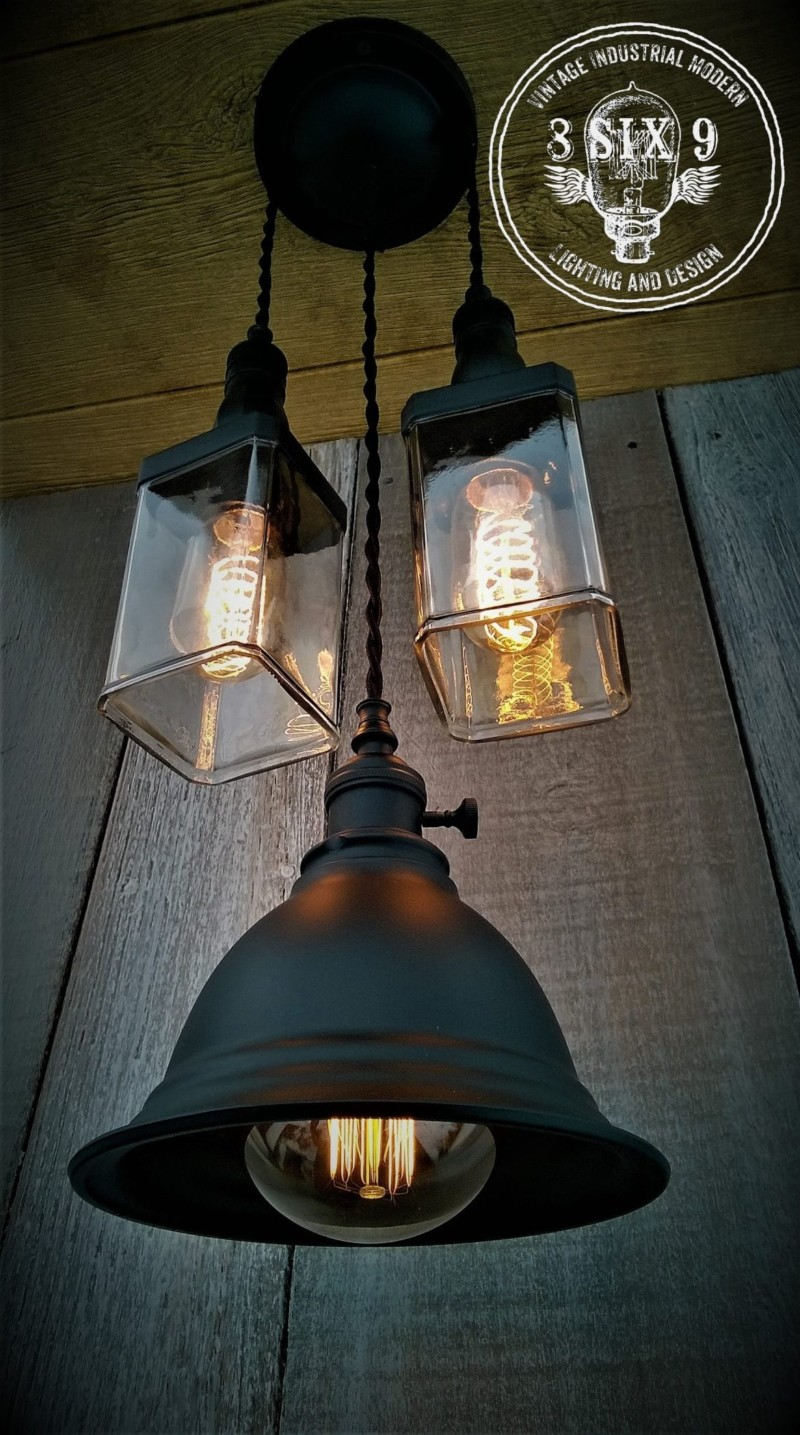 Industrial Whiskey And Shaded Pendant Lighting Id Lights