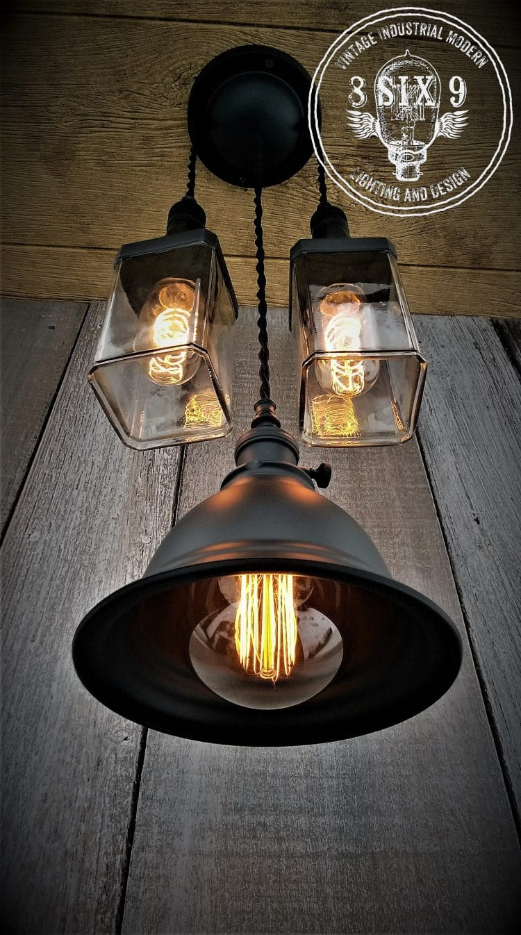 Industrial Whiskey and Shaded Pendant Lighting Pendant Lighting