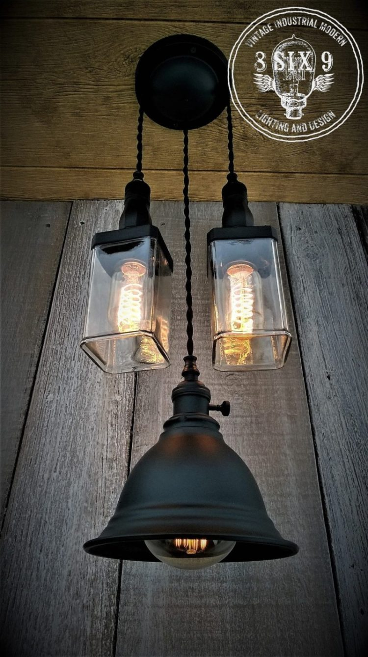 Industrial Whiskey and Shaded Pendant Lighting - pendant-lighting