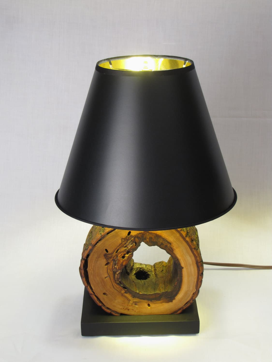 Night Stand Lamps from Wood Logs - desk-lamps