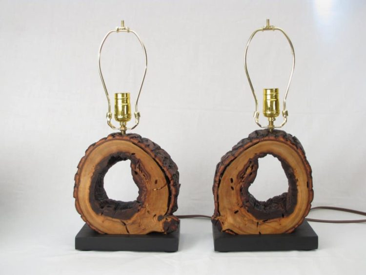 Night Stand Lamps from Wood Logs