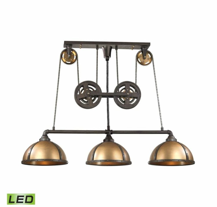 Light LED Billiard Island in Vintage Brass Pendant Lighting
