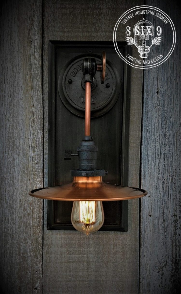 Industrial Copper Metal Shaded Wall Sconce 4 - Wall Lamps & Sconces - iD Lights