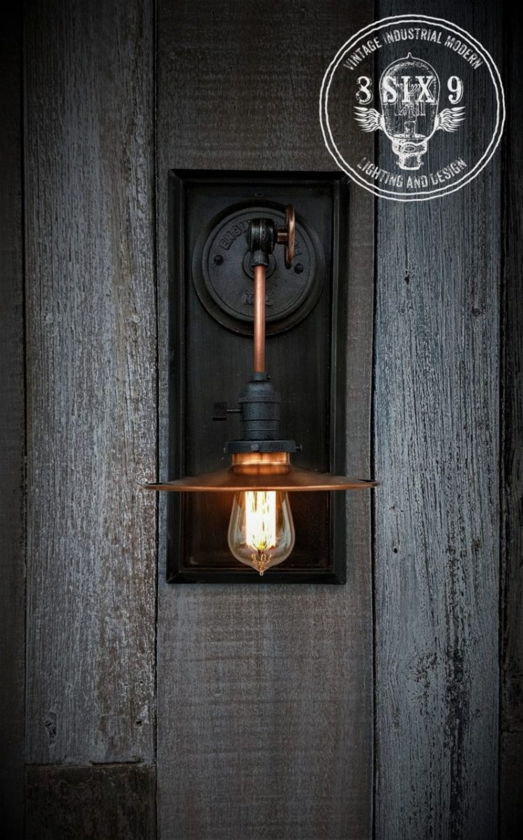 Industrial Copper Metal Shaded Wall Sconce Wall Lamps & Sconces