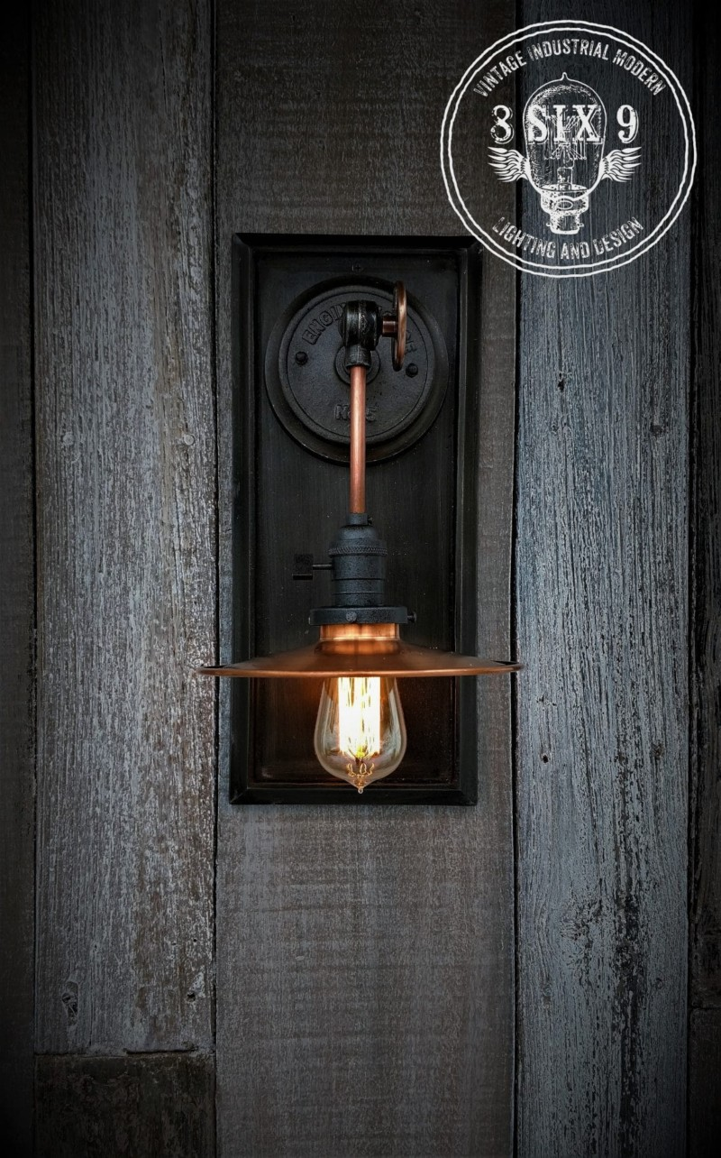 Industrial Copper Metal Shaded Wall Sconce Id Lights