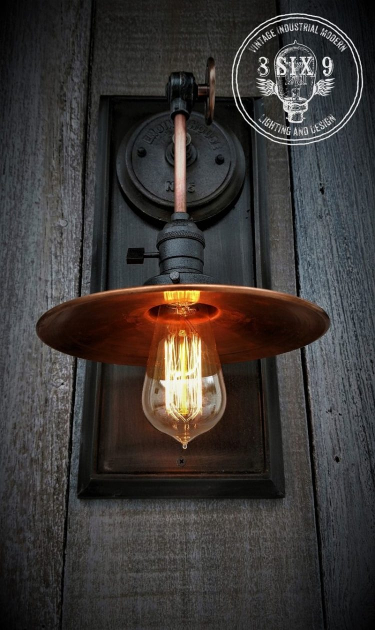 industrial copper metal shaded wall sconce
