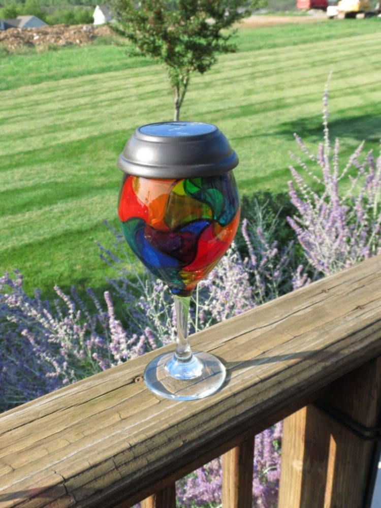 Rainbow Mosaic Painted Wine Glass Outdoor Lighting