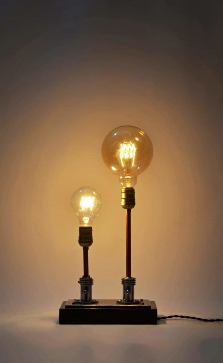 Steampunk Table Lamp Made from Vintage Medical Plugs 2 - Table Lamps - iD Lights