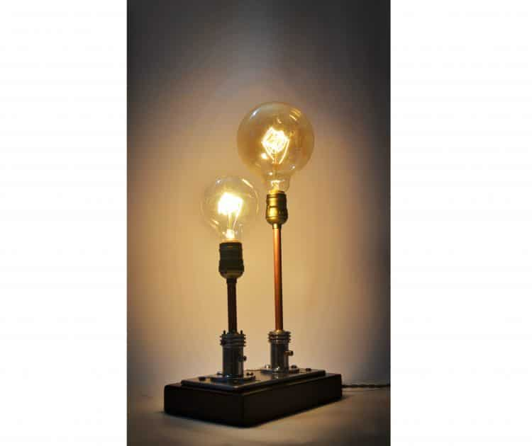 Steampunk Table Lamp Made from Vintage Medical Plugs 1 - Table Lamps - iD Lights
