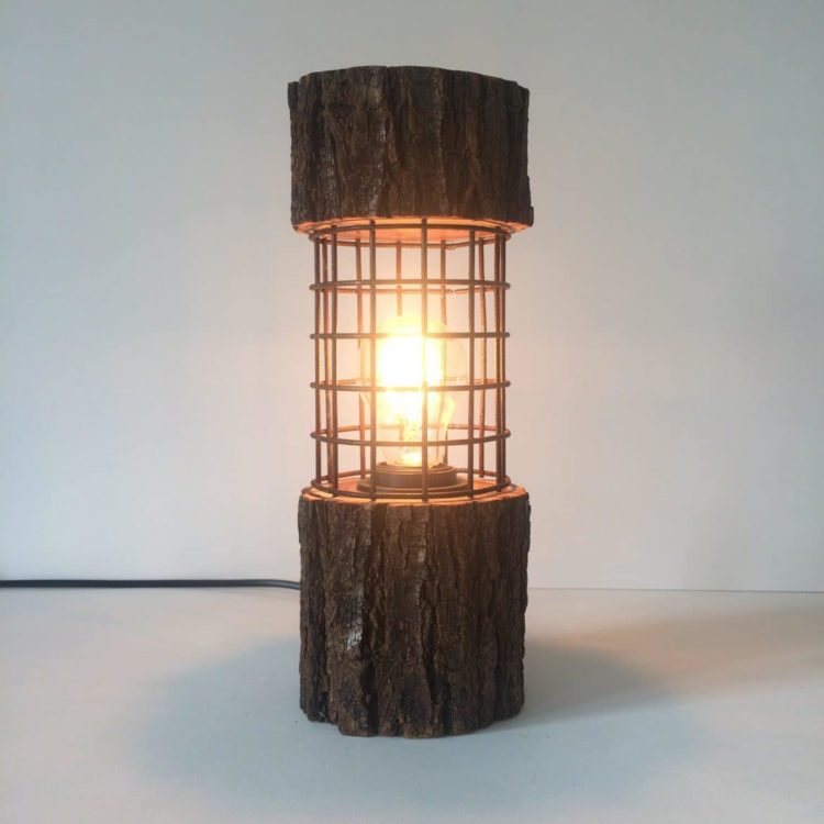 Rustic Log Lamp with Metal Cage Table Lamps