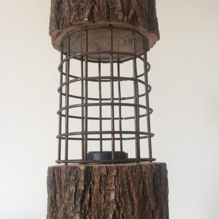 Rustic Log Lamp with Metal Cage - table-lamps