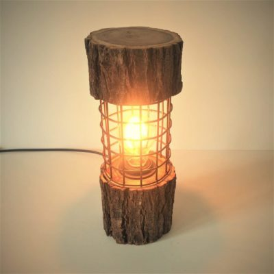 Rustic Log Lamp with Metal Cage