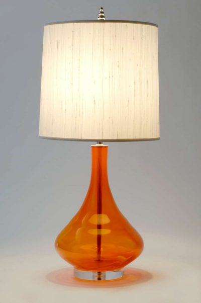 Tangerine Orange Handblown Glass Table Lamp