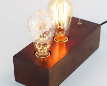 Vintage Handmade Wooden Table Lamp