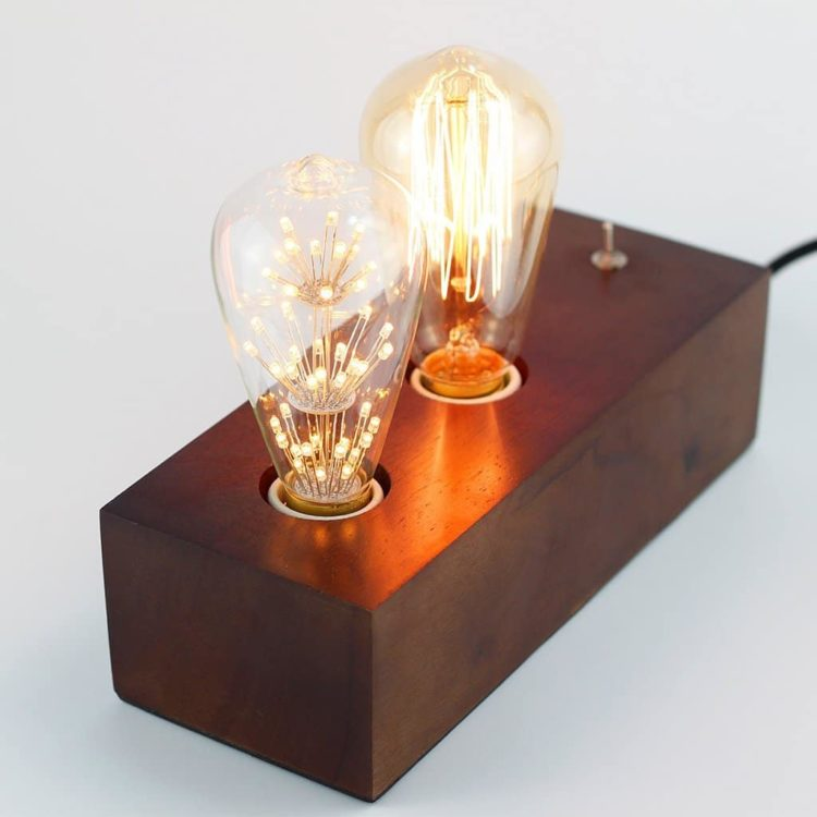 Vintage Handmade Wooden Table Lamp - table-lamps