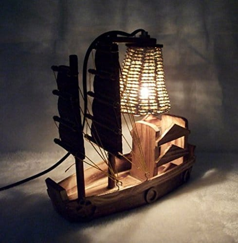 Wooden Handicraft Sailboat Desk Lamp Table Lamps