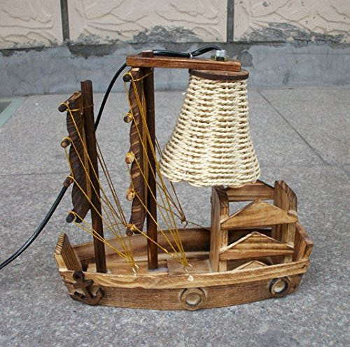 Wooden Handicraft Sailboat Desk Lamp - table-lamps