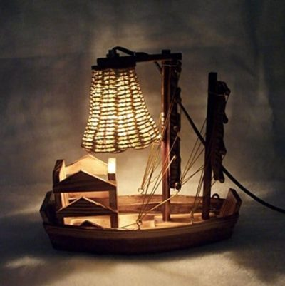 Wooden Handicraft Sailboat Desk Lamp