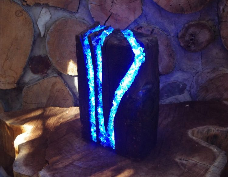 LED Table Lamp Made from Recycled Wood & Glass - wood-lamps, table-lamps, restaurant-bar