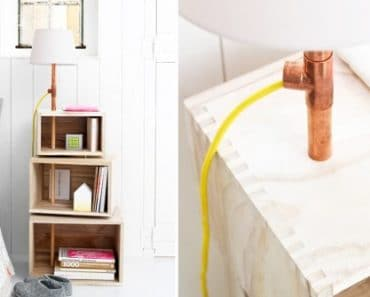 DIY Wooden Floor Lamp with Shelves