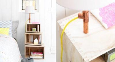 DIY Wooden Floor Lamp with Shelves