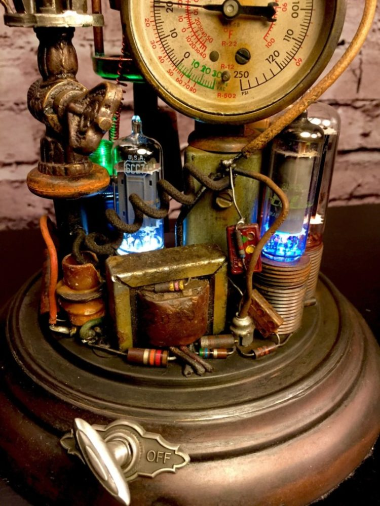 Steampunk Lamp Art Sculpture - table-lamps