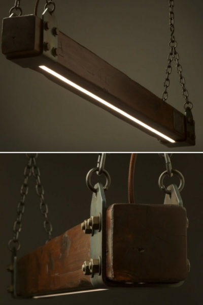 Aged Cypress Beam LED Pendant Light